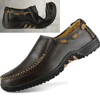 2014, genuine leather, Soft bottom , leisure, large size, set foot, flats ,Breathable ,Business,men's shoes