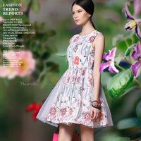 Small fresh 2014 gauze print one-piece dress slim puff a-line dress