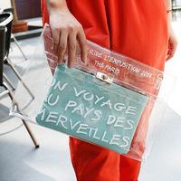 2014 brand designer Transparent Envelope Clutch ipad Handbag For Women Fashion Purse Letter Evening shoulder jelly clutches bags