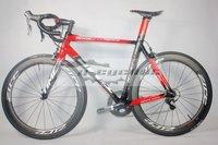 time rxrs road bicycle complete with 58mm dimple carbon wheelsets ultega 6800 full carbon bike bb30 red/black time bar stem