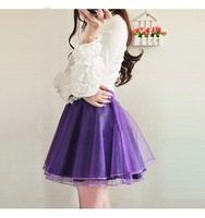 spring and summer sweet princess short skirt solid color all-match organza skirt