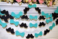 Happily Ever After Banner Bow tie Mustache Wedding Signs Banner Garland Braidal Shower Favor Photo Booth Props Party Decoration
