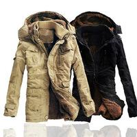 New Mens  Long 100% Cotton Thickhen Winter Snow Warm Coat,Hooded Faux Fur Parkas,Black,Khaki,Size M-XXL,AW1302,Free Ship