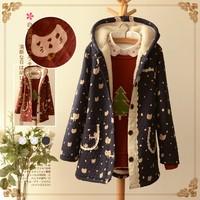 Cat dot laciness casacos femininos survetement femme cotton winter thickening jacket gilet femme fuzzy coat mori girl snow wear