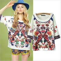2015 New Women Summer Retro Court Peacock Print O-neck Half Sleeve T-shirt Female Euramerican Vintage Fashion Loose Tops FJ0562