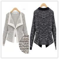 2014 European Fashion Winter Top Grade Linen Slim Hemp Material Long Sleeved Knitting Wool Womens Cardigan Jacket Coat