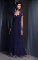 2014 Full length Cap Sleeve Chiffon Mother Dress , Wedding Party Dress with Lovely Flower Detail.