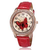 Women watches brand 2014 fashion watch rose gold plated clock pu leather straps with rhinestones quartz analog wholesale