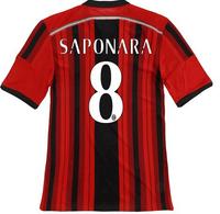 14-15 AC miland jersey AAA+++thailand Ac milan home  SAPONARA NO.8 jersey,customized name number AC miland home soccer jersey