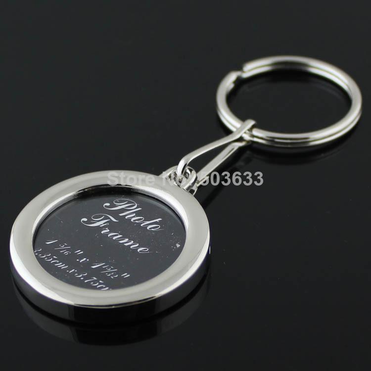 Photo Frame Keychain Polished Chrome Round Shaped Frames Keyring Car Key Chain Ring Key Fob 85425(China (Mainland))