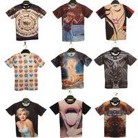 Men summer 3d T-shirts Fashion 3d Printed man woman Short Sleeve t shirts 2014 New Brand Plus size Cotton Tops Clothing
