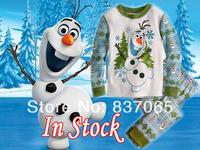 2014 Rushed Top Fasion Broadcloth Raglan Sleeve Character Frozen Olaf Pajamas Kids Sets Sleepwear Long-sleeves Snowman Pijamas