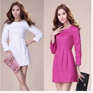 Women dress spring white dress embossed