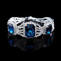 New brand luxury square bracelet crystal jewelry silver-plated bracelets bangles for women rhinestone pulseras blue bracelet