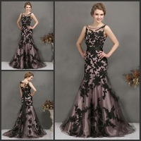 2014 Black Appliqued prom dress Crew Neckline Sheer Straps Newest Sleeveless Mermaid Tulle evening dress Ready to Ship