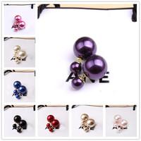 New Fashion Vintage  Pearl Earrings Sided Can be Wear Duplex Women's Stud Earrings R-108