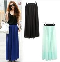 spring and summer fashion bohemia chiffon skirt high waist long skirt chiffon