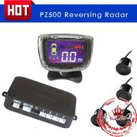 PZ500 LCD Parking Sensor and LCD digital display and four sensors / bibi sound led parking radar free shipping