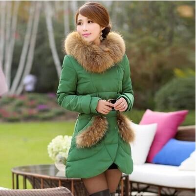 Пуховик длинная, женщины зима роскошь мех воротник элегантный приталенный высокая класса утолщаются тёплый WJ1268
