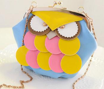 Уникальный новый стиль цвета мило мини сова мешок смеси сумки одного плеча сумку молния засов украшения мешок B003