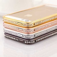 Fashion Luxury Rhinestone Bling Crystal Diamond Metal Bumper Frame Case Cover For iPhone 5 5S 5G