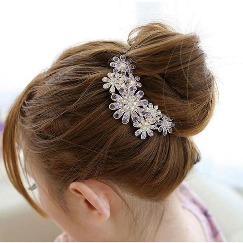 Beautiful Crystal Rhinestone Petal Tuck Comb Flower Hair Pin Hair Clip PMPJ046P90(China (Mainland))
