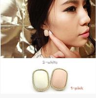 New Fashion Simple Rectangle Earrings Pink Stud Earrings R-112