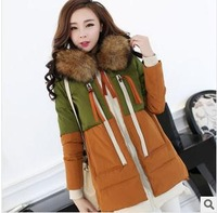 2014 new women's autumn winter down parkas coats jackets clothing big faux fur hooded overcoats Thickening raccoon fur collar