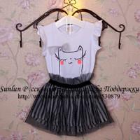 2014 summer children t shirt+skirt, cute cat and strips skirt printed suit for girls cotton casual dress setWLC-020FREESHIPPING