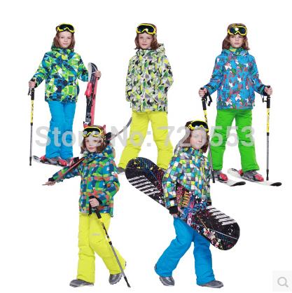 2014New FREE SHIPPING phibee kids clothing set windproof skiing jacket+pant snow suit -20-30 DEGREE boys ski suit size128-176(China (Mainland))