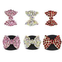 New 3d Alloy Rhinestone Nail Art ,20pcs/lot Charm AB Crystal Pink Bow Tie Design Nail Jewelry,Glitter Nail Gel Decoration Tools