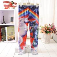 New 2014 Child Clothing Colorful Rainbow Unicorn Digital Print Leggings Girl Boy Pants Children Legging Fitness Leggins S100-13