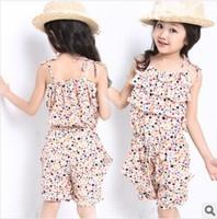 Free Shipping NEW ARRIVALS Children's summer wear brand suit  condole belt suit girls jumpsuits set kids set girls clothing sets