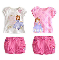 Free shipping Retail 2014New Summer 2-7Years New Sofia suit with short sleeves of the girls Sophia virgin suit girls summer suit