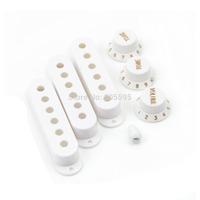 White Strat Guitar Switch Tip w/ 3 Pickup Cover 2 tone 1 volume Knobs Set