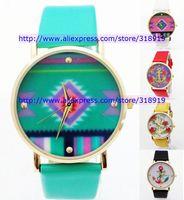 Discount sale 400pcs/lot Hot fashion geneva leather watch rose flower square design Anchor women men quartz dress bracelet watch