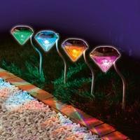 2014 New Solar powered Panel LED Spot Lighting Landscape Outdoor Garden Path Lawn Lamp Diamond Decoration Garden Yard Lights