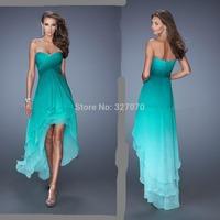 Vestidos de Fiesta Sexy 2014 New Arrival Hi-Lo Sweetheart Beading Colorful Criss-Cross Chiffon Prom Dresses to Party 2014 EV-129