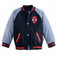Retail Spider-Man V Neck Jackets for Boy Raglan sleeves Coat Kids/Toddler Cartoon Clothing Velvet lining Casual   Outerwear