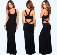 2014 Summer Women Sexy Hollow Cutout Backless Slim Bodycon Stretch Bandage Mermaid Club Beach Maxi Long Gown Dress Free Shipping