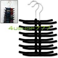 EN0919 2x Black Velvet Cloth Belt Scarf Necktie Hanger Holder Rack Closet Organizer