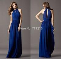 Elegant long bridesmaid dresses! Simple design back hollow dresses classic A-line draped flowing chiffon floor length gowns