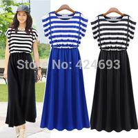2014 New Arrival summer  women fashion overalls  dress Bohemian style  striped long dress