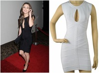New 2014 Spring Summer Autumn Women White Black HL Bandage Dress Sexy Cocktail Hollow Out Halter Backless Free Shipping hxh
