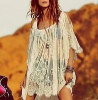 2014 New Arrive 1/2 Sleeve Lace Crochet Flower Mini Dress, Women Sexy Hollow Out Off Shoulder Short Beach Dress