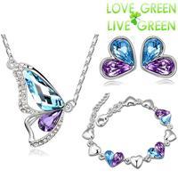 2014 women fashion Brand 18K Platinum Plated Austrian Crystal butterfly Pendant necklace earrings bracelet Jewelry Sets 84373