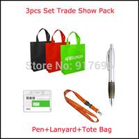 New free shipping 250pcs 3pcs set trade show packs(pen+lanyard+tote bag) customed promotion printed logo pen lanyard handbag