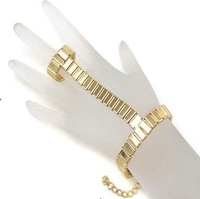 Hand Harness Slave Chain Link two Fingers Rings   Gold  and silver color