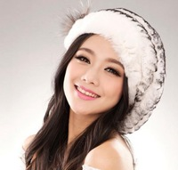 2014 New Nature Rex Rabbit Fur Hat Natural Knitted Rabbit Fur Cap Real Rabbit Fur Headwear Winter Hat TPHR0003