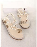 Big Size 35-39 Bohemia 2014 Sandals Female Beaded Flower FLat Flip-flop flats Women's Shoes Free shipping LT004